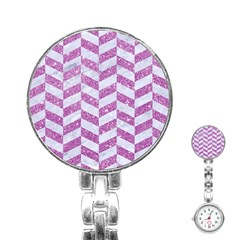 Chevron1 White Marble & Purple Glitter Stainless Steel Nurses Watch