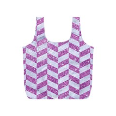 Chevron1 White Marble & Purple Glitter Full Print Recycle Bags (s)