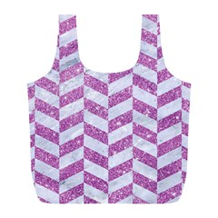 Chevron1 White Marble & Purple Glitter Full Print Recycle Bags (l)
