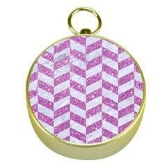 Chevron1 White Marble & Purple Glitter Gold Compasses