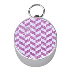 Chevron1 White Marble & Purple Glitter Mini Silver Compasses