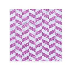 Chevron1 White Marble & Purple Glitter Small Satin Scarf (square)