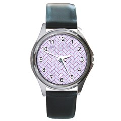 Brick2 White Marble & Purple Glitter (r) Round Metal Watch by trendistuff