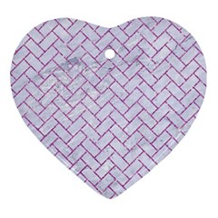 Brick2 White Marble & Purple Glitter (r) Ornament (heart)