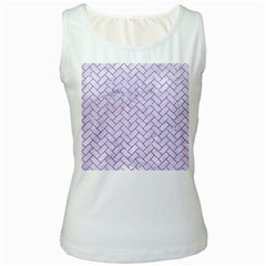 Brick2 White Marble & Purple Glitter (r) Women s White Tank Top
