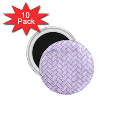 Brick2 White Marble & Purple Glitter (r) 1 75  Magnets (10 Pack)  by trendistuff