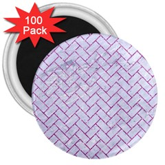 Brick2 White Marble & Purple Glitter (r) 3  Magnets (100 Pack)