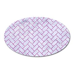 Brick2 White Marble & Purple Glitter (r) Oval Magnet
