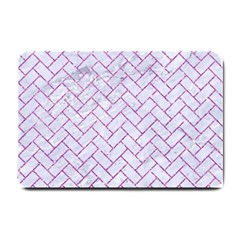 Brick2 White Marble & Purple Glitter (r) Small Doormat