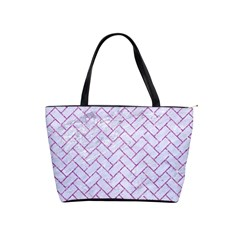 Brick2 White Marble & Purple Glitter (r) Shoulder Handbags