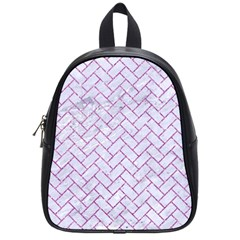 Brick2 White Marble & Purple Glitter (r) School Bag (small)