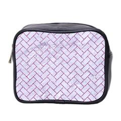 Brick2 White Marble & Purple Glitter (r) Mini Toiletries Bag 2 Side