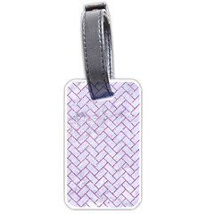 Brick2 White Marble & Purple Glitter (r) Luggage Tags (one Side)
