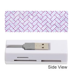 Brick2 White Marble & Purple Glitter (r) Memory Card Reader (stick)