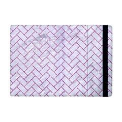 Brick2 White Marble & Purple Glitter (r) Apple Ipad Mini Flip Case