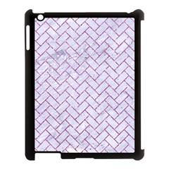 Brick2 White Marble & Purple Glitter (r) Apple Ipad 3/4 Case (black)