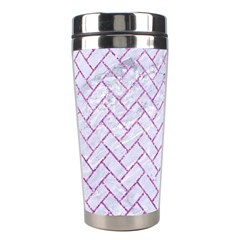 Brick2 White Marble & Purple Glitter (r) Stainless Steel Travel Tumblers