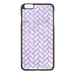 Brick2 White Marble & Purple Glitter (r) Apple Iphone 6 Plus/6s Plus Black Enamel Case