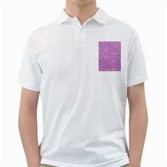 Brick2 White Marble & Purple Glitter Golf Shirts