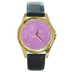Brick2 White Marble & Purple Glitter Round Gold Metal Watch