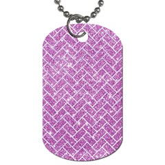 Brick2 White Marble & Purple Glitter Dog Tag (one Side)