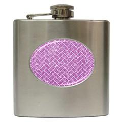 Brick2 White Marble & Purple Glitter Hip Flask (6 Oz)