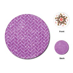 Brick2 White Marble & Purple Glitter Playing Cards (round)