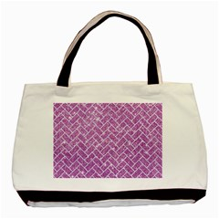 Brick2 White Marble & Purple Glitter Basic Tote Bag (two Sides)