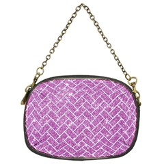 Brick2 White Marble & Purple Glitter Chain Purses (two Sides)