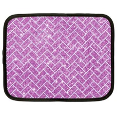 Brick2 White Marble & Purple Glitter Netbook Case (xxl)