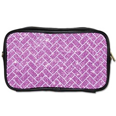 Brick2 White Marble & Purple Glitter Toiletries Bags