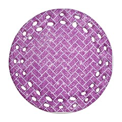 Brick2 White Marble & Purple Glitter Round Filigree Ornament (two Sides)