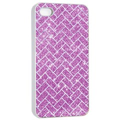 Brick2 White Marble & Purple Glitter Apple Iphone 4/4s Seamless Case (white) by trendistuff
