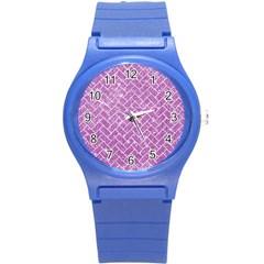 Brick2 White Marble & Purple Glitter Round Plastic Sport Watch (s) by trendistuff