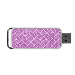 Brick2 White Marble & Purple Glitter Portable Usb Flash (two Sides)