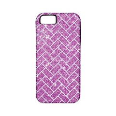 Brick2 White Marble & Purple Glitter Apple Iphone 5 Classic Hardshell Case (pc+silicone)