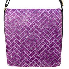 Brick2 White Marble & Purple Glitter Flap Messenger Bag (s)