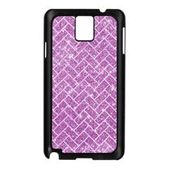 Brick2 White Marble & Purple Glitter Samsung Galaxy Note 3 N9005 Case (black)