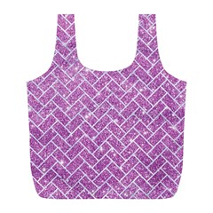 Brick2 White Marble & Purple Glitter Full Print Recycle Bags (l)