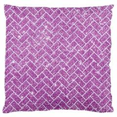 Brick2 White Marble & Purple Glitter Large Flano Cushion Case (one Side)