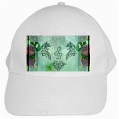 Music, Decorative Clef With Floral Elements White Cap by FantasyWorld7