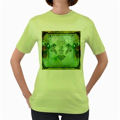 Music, Decorative Clef With Floral Elements Women s Green T Shirt