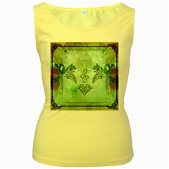 Music, Decorative Clef With Floral Elements Women s Yellow Tank Top