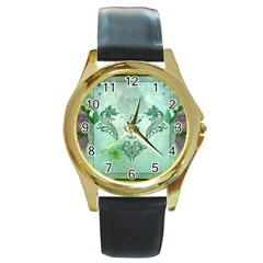Music, Decorative Clef With Floral Elements Round Gold Metal Watch