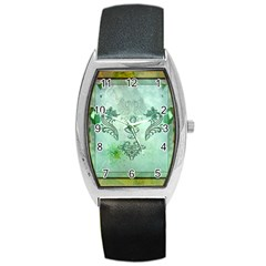 Music, Decorative Clef With Floral Elements Barrel Style Metal Watch