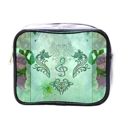 Music, Decorative Clef With Floral Elements Mini Toiletries Bags