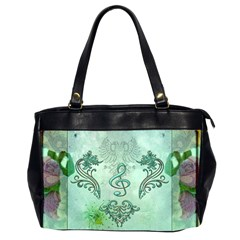 Music, Decorative Clef With Floral Elements Office Handbags (2 Sides)