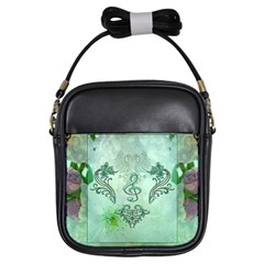 Music, Decorative Clef With Floral Elements Girls Sling Bags