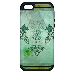 Music, Decorative Clef With Floral Elements Apple Iphone 5 Hardshell Case (pc+silicone)