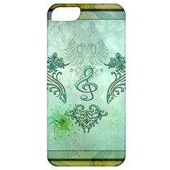 Music, Decorative Clef With Floral Elements Apple Iphone 5 Classic Hardshell Case